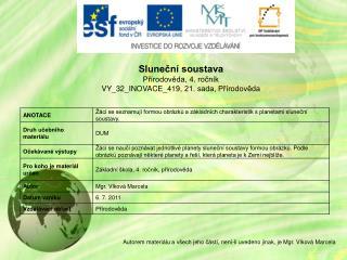 Sluneční soustava Přírodověda ,  4 .  ročník VY_32_INOVACE_419,  21. sada, Přírodověda