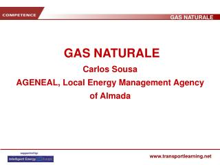GAS NATURALE Carlos Sousa AGENEAL, Local Energy Management Agency of Almada