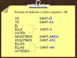 Presente de Indicativo verbos regulares -AR