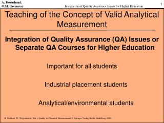 Teaching of the Concept of Valid Analytical Measurement