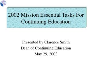 2002 Mission Essential Tasks For Continuing Education