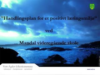 """""""Handlingsplan for et positivt læringsmiljø"""" ved  Mandal videregående skole"""
