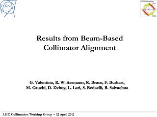 Results from Beam-Based  Collimator Alignment