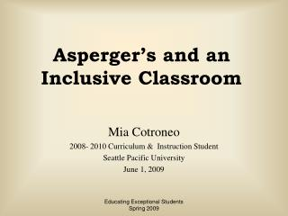 Asperger's and an Inclusive Classroom