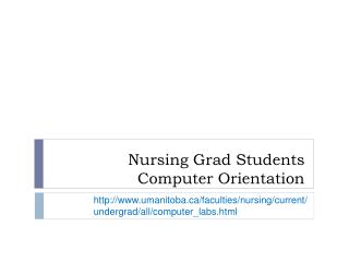 Nursing Grad Students Computer Orientation