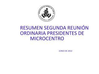 RESUMEN SEGUNDA REUNIÓN ORDINARIA PRESIDENTES DE MICROCENTRO          JUNIO DE 2012