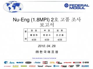 Nu-Eng (1.8MPI) 2 호 고품 조사 보고서