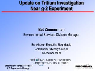 Update on Tritium Investigation    Near g-2 Experiment