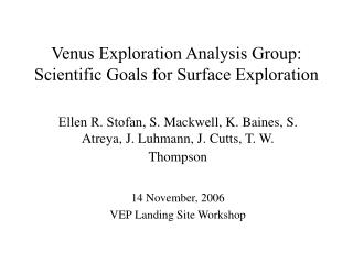 Venus Exploration Analysis Group: Scientific Goals for Surface Exploration