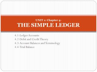 UNIT 1: Chapter 4-  THE SIMPLE LEDGER