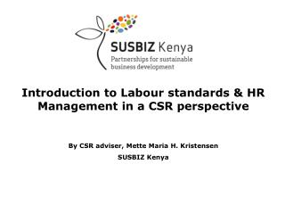 Introduction to Labour standards & HR Management in a CSR perspective