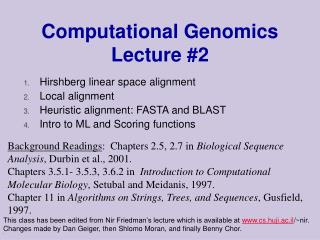 Computational Genomics Lecture #2