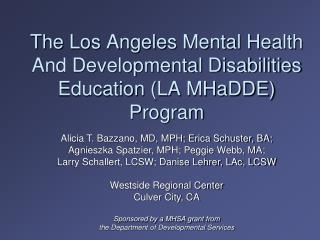 The Los Angeles Mental Health And Developmental Disabilities Education  (LA  MHaDDE ) Program