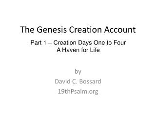 The Genesis Creation Account