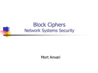 Block Ciphers Network Systems Security