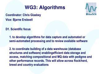 WG3: Algorithms