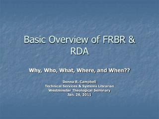 Basic Overview of FRBR  RDA