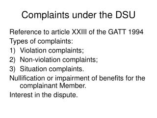 Complaints under the DSU