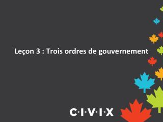 Leçon 3 : Trois ordres de gouvernement