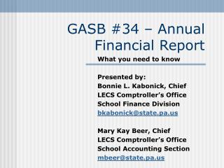 GASB #34 � Annual Financial Report