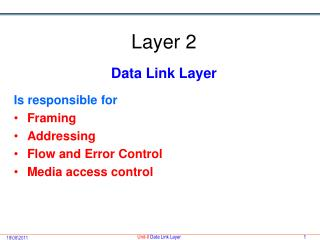 Layer 2 Data Link Layer