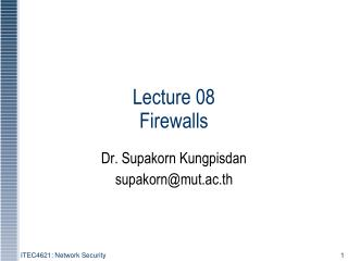 Lecture 08  Firewalls