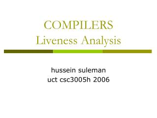 COMPILERS Liveness Analysis