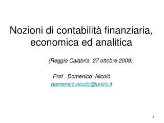 Nozioni di contabilità finanziaria, economica ed analitica