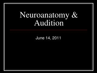 Neuroanatomy & Audition