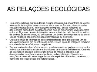 AS RELAÇÕES ECOLÓGICAS