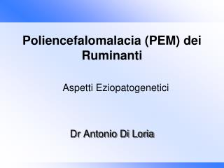 Dr Antonio Di Loria