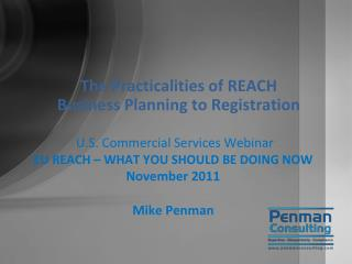 The Practicalities of REACH  Business  Planning to Registration