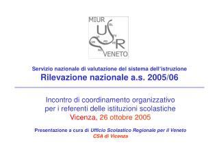 Servizio nazionale di valutazione del sistema dell'istruzione  Rilevazione nazionale a.s. 2005/06