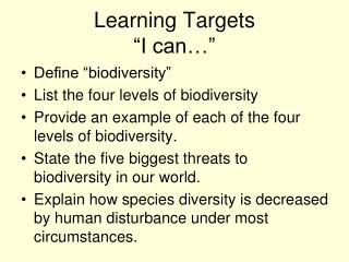 """Learning Targets """"I can…"""""""