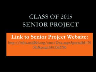 Class of 2015 Senior Project
