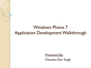 Windows Phone 7  Application Development Walkthrough