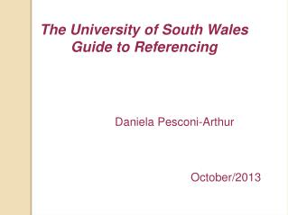 The University of South Wales Guide to Referencing
