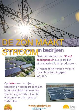Gezinnen kunnen met 30 m2 zonnepanelen hun jaarlijkse stroomverbruik zelf produceren. Zonnepanelen kunnen mooi in de arc