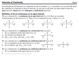 Intervals of Continuity
