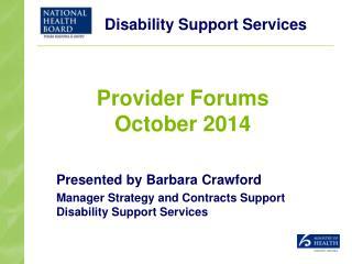 Provider Forums October 2014