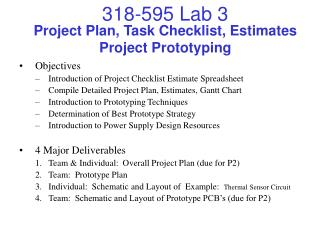 Project Plan, Task Checklist, Estimates Project Prototyping