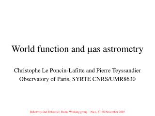 World function and  as  astrometry