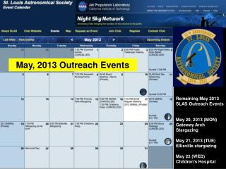 May, 2013 Outreach Events