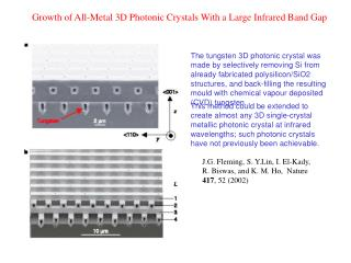 Growth of All-Metal 3D Photonic Crystals With a Large Infrared Band Gap