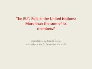 The EU's Role in the United Nations:   More than the sum of its members?
