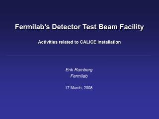 Fermilab's Detector Test Beam Facility Activities related to CALICE installation
