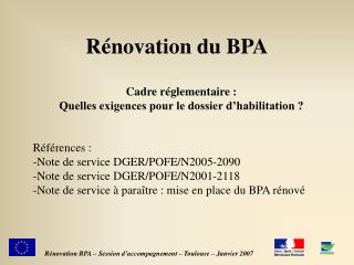R novation du BPA