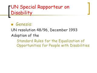 UN Special Rapporteur on Disability
