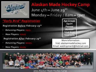 Alaskan Made Hockey Camp June 4th – June 29 th Monday – Friday / 8am – 5pm