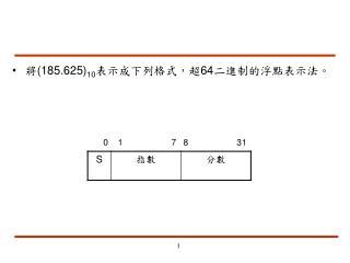 將(185.625) 10 表示成下列格式,超64二進制的浮點表示法。